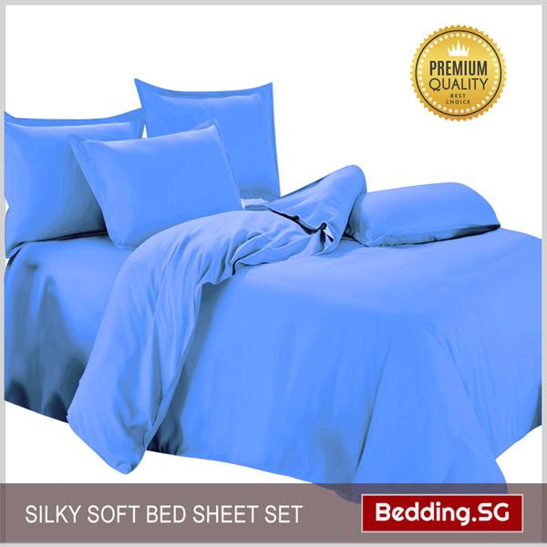 Bed Sheets Light Blue Super Single Bedding Sg
