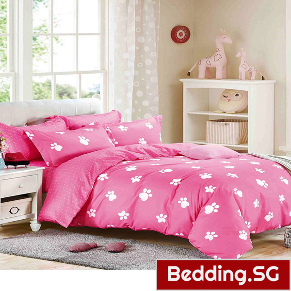 Pink Bedsheets Bed Sheet Set Footprint Design Pink